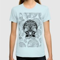 Sugar Skull.  Womens Fitted Tee Light Blue SMALL