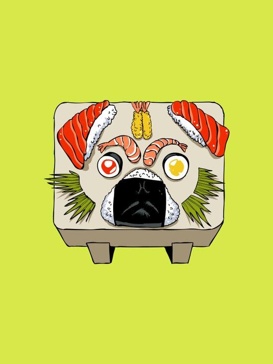 Pug Sushi  Canvas Print