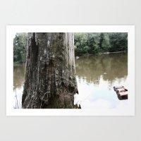 Old Tree at Lake Art Print