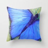 Blue Butterfly: Transfig… Throw Pillow