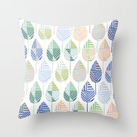 Geometric Leaves Throw Pillow