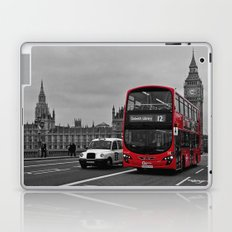 Black and White London with Red Bus Laptop & iPad Skin