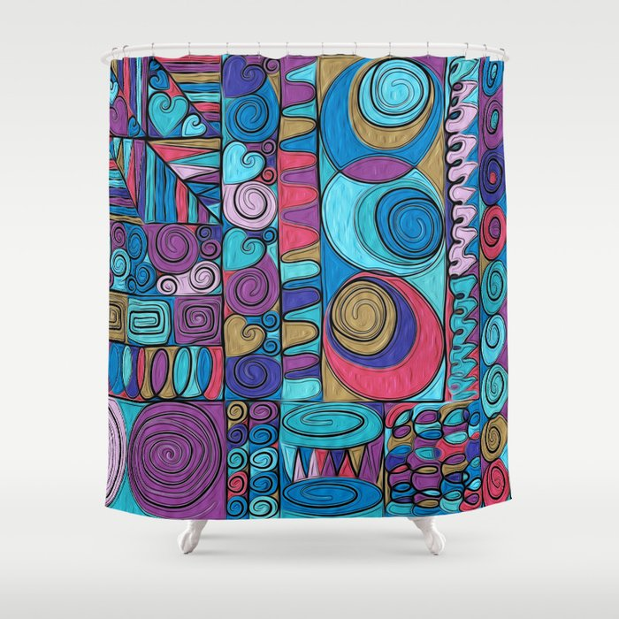 Stained Glass Shower Curtain By Helene Michau