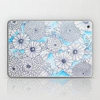 Floral Doodle in Blue Laptop & iPad Skin