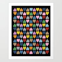 Diamond Hearts On Black Art Print