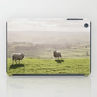 Sunlit sheep on a hilltop at sunset. Derbyshire, UK. iPad Case