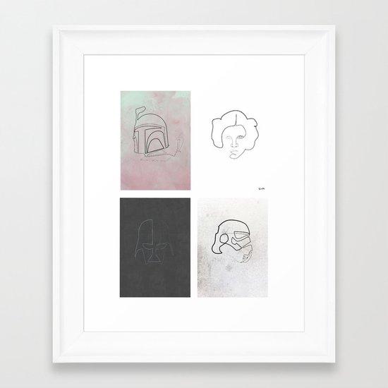 One line Starwars Poster Framed Art Print