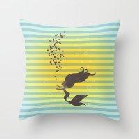 Black Mermaid Throw Pillow