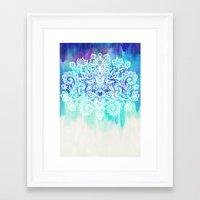 Indigo & Aqua Abstract - doodle painting Framed Art Print