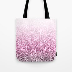 Gradient pink and white swirls doodles Tote Bag