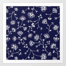Indigo Floral Trail Art Print