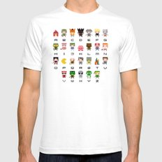Video Games Pixel Alphabet Mens Fitted Tee White SMALL