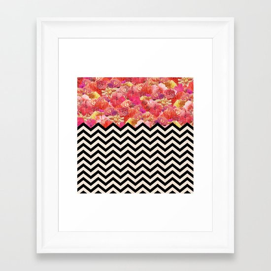 Chevron Flora Framed Art Print