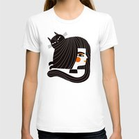CAT HAIR Womens Fitted Tee White SMALL