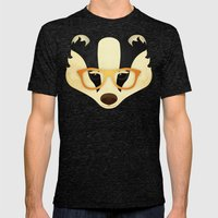 Hipster Badger: Gold Mens Fitted Tee Tri-Black SMALL