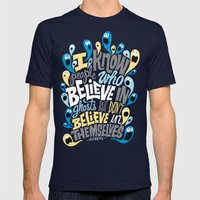 People Who Believe in Ghosts Mens Fitted Tee Navy SMALL