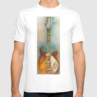 Rickenback Guitar Mens Fitted Tee White SMALL