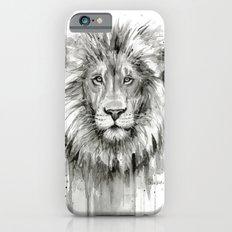 Lion Watercolor Black and White Animal Portrait Slim Case iPhone 6s
