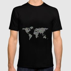 World map Black Mens Fitted Tee SMALL