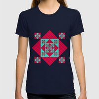 Pop Petals Pattern Womens Fitted Tee Navy SMALL