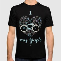 I Love My Bicycle Mens Fitted Tee Black SMALL