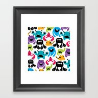 Framed Art Print featuring Monster Pattern by Maria Jose Da Luz