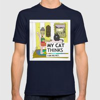 My Cat Thinks I Am His P… Mens Fitted Tee Navy SMALL