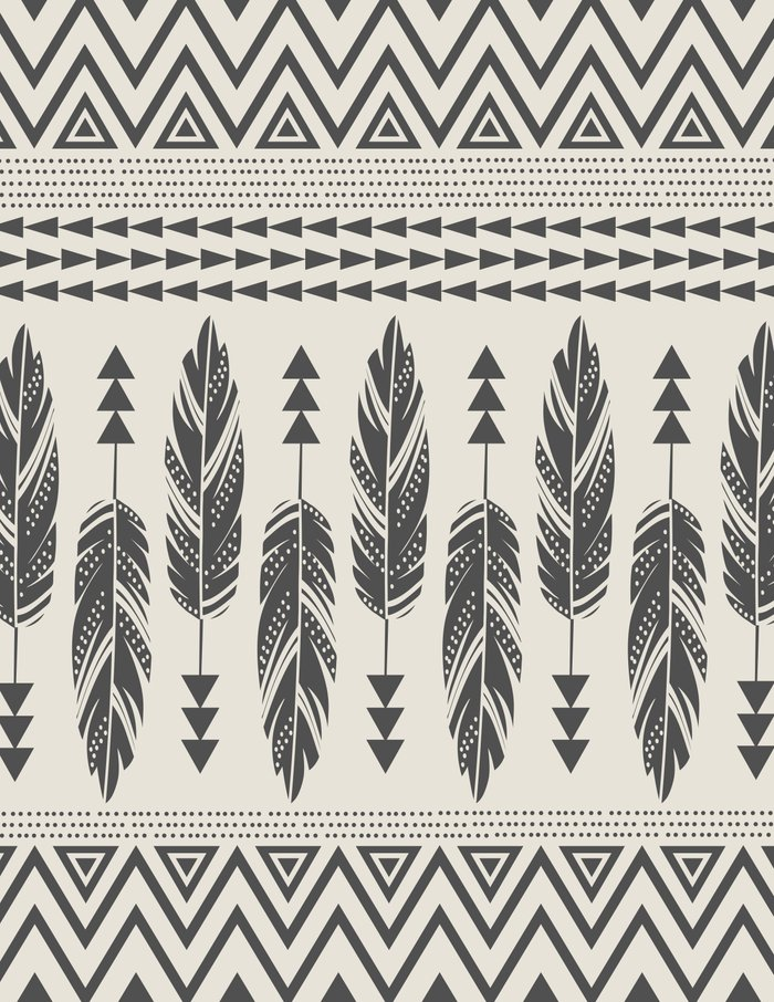 Tribal Feathers-Black ... Black And White Tribal Print Wallpaper