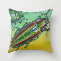 Shinny Beetle Throw Pillow