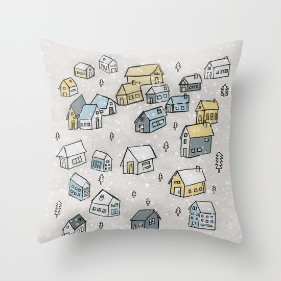 First day of snow Throw Pillow