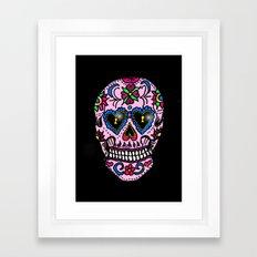 Sugar Skull, Hearts Framed Art Print