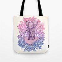 Cute Baby Elephant In Pi… Tote Bag