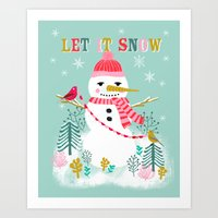 Holiday Snowman By Andre… Art Print