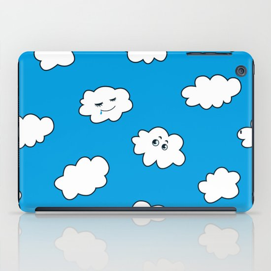 Blue Sky Happy Funny Clouds iPad Case