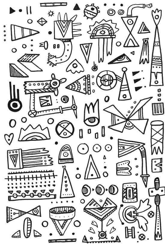 Triangle doodles Art Print