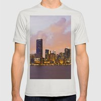 Miami Skyline Mens Fitted Tee Silver SMALL