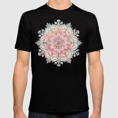 Autumn Spice Mandala in Coral, Cream and Rose Mens Fitted Tee Black SMALL