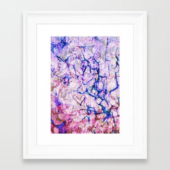 Cracked Floral Framed Art Print