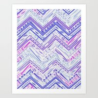 PURPLE ETHNIC CHEVRON Art Print