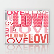 The Word Love In Red With Hearts Laptop & iPad Skin