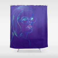 Purple Girl with Glasses Shower Curtain