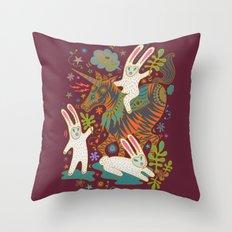 Three Rabbits and a Unicorn Throw Pillow