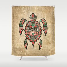 Vintage Red and Green Haida Spirit Sea Turtle Shower Curtain
