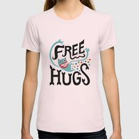 Free Hugs Womens Fitted Tee Light Pink SMALL