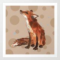 Spotty Fox pillow, FOX cushion, fox painting, woodland nursery art, spots, kids, animal art Art Print