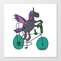 Unicorns LOVE bikes. Canvas Print