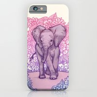 iPhone Cases featuring Cute Baby Elephant in pink, purple & blue by micklyn