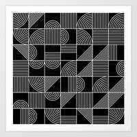 Black and White Random Tile 1 Art Print