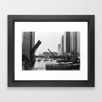 Chicago River Bridges Bl… Framed Art Print