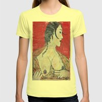 PORTRAIT OF A LADY EXPOSING HER TITS Womens Fitted Tee Lemon SMALL